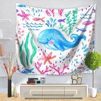 Goblenler karikatür yunus geometrik ekleme plaj goblen polyester duvar halı oturma odası atmak yoga mat havlu plaj şal 150 * 130 cm