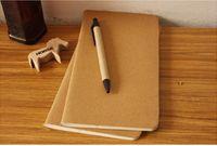Caderno de papel de couro em branco bloco de notas do livro do vintage macio caderno diário memos Kraft capa cadernos de diário 11X21 cm 8.5 x 4.5 Polegada