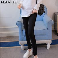 PLAMTEE Spring New Solid Maternity Leggings Summer Fashion H...
