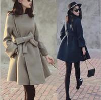 Damen Warme Winter ausgestattet Trenchcoat Lady Revers Dünne Lange Jacke Oberbekleidung mit Bogen Gürtel FS5236