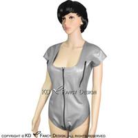 Silber Sexy Latex Badeanzug mit Brust-Reißverschluss und vorne nach hinten Schrittgurt Reißverschluss Rubber Body Suit Catsuit Body LTY-0152