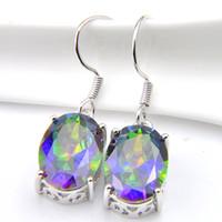 10 Prs Luckyshine Klassische Mode Regenbogen Mystic Topaz Edelstein Silber Oval CZ Baumeln Ohrringe für Frauen Großhandel