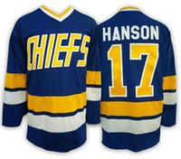 Haute qualité Hanson Brothers Charlestown Slap Shot Hockey Jersey # 16 Jack Hanson 17 Steve 18 Jeff Hanson SlapShot Cousu maillot bleu blanc