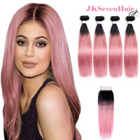 Ombre 1B Pink Brazilian Remy Virgin Human Hair Extensions 4 Bundles With 4x4 Inch Lace Closure Silky Straight Dark Root Malaysian Indian Weave Machine Wefts