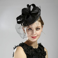 Лучшие продажи банкета шляпа черная пера вуаль обед партия аксессуары свадебные головные уборы 2019 дешевые фас