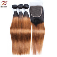 8A Ombre Brown Straight Hair Bundles with Closure T 1B 30 Br...