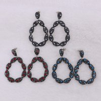 5 Pairs Women New Designer Big Hook Earrings Pave with Stone...