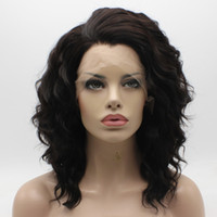 Peluca marrón larga ondulada del medio ondulado de Iwona Peluca delantera de encaje sintético de la peluca con cordones sintéticos