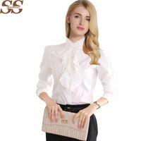 Yeni Varış Şifon Ruffles Kadın Gömlek Lady Beyaz Gömlek Uzun Kollu Bluz Gömlek Artı Boyutu S-5XL Ince Kadın Blusa Kadınlar Tops