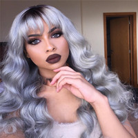 Hot Brazilian Ombre grey full lace human hair wigs wavy silv...