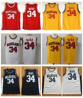 Mens 1985 Maryland Terps 34 Len Önyargılı Koleji Basketbol Formaları Vintage Len Önyargılı Kuzeybatı Yılbaşı Kılıfı Lisesi Dikişli Gömlek S-XXL