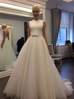 Robe de mariée élégante A-line sans manches robes de balle sans manches sans manches organza robes de mariée robes de mariée Vestido de noiva