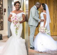 Schulterfrei Brautkleider 2018 Spitze Und Tüll Flügelärmel Meerjungfrau Brautkleid Anzahl Zug Afrikanische Günstige Brautkleider
