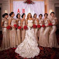 2020 Günstige Rose GoldSequined Lange Brautjungfernkleider Juwel kurz angeschnittene Ärmel Mermaid Partei-Kleid-Rückseiten-Reißverschluss-Schleife-Zug nach Maß