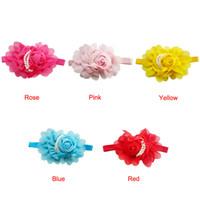 Kostenloser versand Rose Perle Spitze Blume Haarschmuck Headwear baby strass stirnband Infant Kinder band #