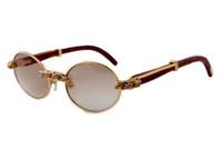 Óculos de sol Óculos 2019 New moda retro diamante redondo Sunglasses 7550178-B Natural Madeira de Luxo Tamanho: 55/57 -22-135mm