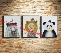 Little. lion.panda, 3 pezzi Home Decor HD Stampato su tela Modern Art (senza cornice / con cornice)