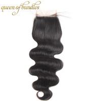 Nouvelle arrivée brésilienne vague de dentelle fermeture de cheveux remy de cheveux humains 4 * 4 partie centrale fermeture supérieure 100% naturel couleur extension de cheveux