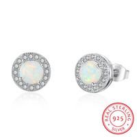 Forma Branco Opal Stone Stud Stone Projeto Orelha Real 925 Brinco de Prata Esterlina com Mark S925 Jóias de Alta Qualidade