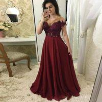 2019 Abendkleider Burgund Burgund Eine Linie Chiffon Ballkleider Appliques Illusion Damen Kleid für besondere Anlässe Custom Made Formal