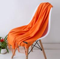 Женщины сплошной цвет кашемира шарфы с кисточкой леди весна осень тонкий длинный шарф высокое качество женский шаль горячие продажа wrap LD