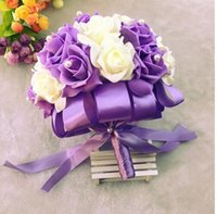 Purple Pink Red Wedding Bouquet da sposa Colorful Wedding Decoration Artificiale Bridesmaid Flower Perle Perline Sposa Holding Fiori