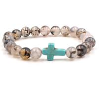 Bracciali con pietre incrociate Braccialetto con perline Marca Yoga Chakra Gioielli Braccialetto in pietra naturale