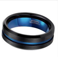 TIGRADE 8mm BlueBlack Männer Ring Mode Blaue Linie Wolfram Ring Hochzeit Engagement Wolframcarbid Ringe für Männer Schmuck