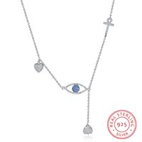 New 925 Sterling Silver Blue Eye Pendant Necklaces Clear CZ ...