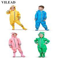 Vilead cute animal jumpsuits chuva casaco à prova d 'água poliéster capa de chuva crianças poncho à prova de vento para estudante de jardim de infância