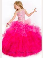 2021 The Tri Couleur Drape Dress Girl's Pageant Robes De Fluffy Off Off Off Flower Gold Guiche de billes