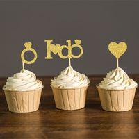 Or ou d'argent paillettes je fais des mariages Cupcake Toppers nuptiale de douche parti choisit fiançailles faveurs parti décoration de gâteau fournitures