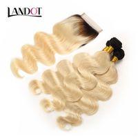 9A Renk 1B / 3 Paketler Brezilyalı Virgin İnsan saç örgüleri Vücut Dalga Perulu Malezya Hint Remy Saç ile 613 Ombre Sarışın Dantel Kapanış