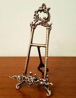 Европейская классическая старинная литая латунная медная мольберт металлическая столешница цветок мольберт фоторамка дисплей художественные работы старинные ремесла бронза