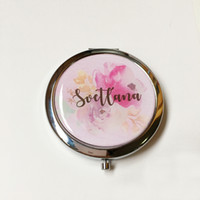 personalized bridesmaid gift compact mirror wedding baby shower birthday valentine's day gifts 4pcs lot unique free shipping