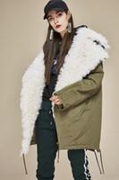 Witte bont grote revers nek leger groene jas voering afneembare lam bont trim vrouwen onderaan jassen dames dons parka's