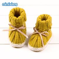 Inverno Quente Bebê Recém-nascido Menina Primeiros Caminhantes Outono Infantil Criança Crochet Prewalker Botas Sola Macia Sapatos de Menino Bonito 0-24 M