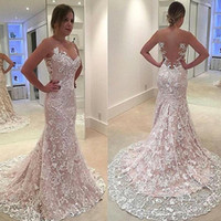 2018 Gorgeous Mermaid Full Lace Wedding Dresses Sheer Neck S...