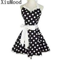 XiuMood retro lindo sexy camarero delantal vestido con bolsillo algodón blanco encaje negro lunares cocina cocinero cocina delantales para mujer