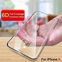 """6D Curved (No 4D 5D Glass) Cubierta de pantalla completa Vidrio templado para iPhone X 5.8 """"pulgadas 10 Protector de pantalla de vidrio"""