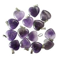 Groothandel goede kwaliteit natuurlijke amethist steen hart-vormige hanger sieraden oorbel ketting hanger mode charm 50pcs / lot