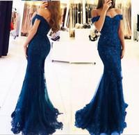 Azul fora do ombro sereia vestidos longos vestidos de noite desgaste tule apliques frisado feito sob encomenda formal vestidos de celebridade vestidos de festa de formatura