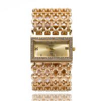 브랜드 새 여성 시계 체인 라인 석 패션 골드 손목 시계 합금 광장 시계 학생 팔찌 Relogios Feminino