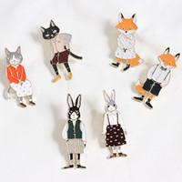 일본과 한국 만화 고양이 토끼 합금 브로치 학생 의류 액세서리 아름다운 배지 핀