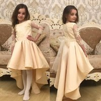 Champagne High Low 3 4 Long Sleeve Girls Pageant Dresses Gir...