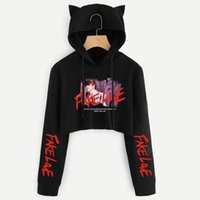 Blackday Kawaii Love Yourself 'Crop Tops sudaderas Tear Falso Amor Kpop de manga larga camiseta de los Hoodies de las mujeres del gato de Kawaii Sudadera