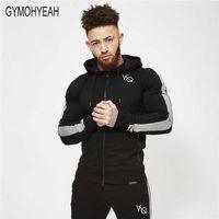 GYMOHYEAH atacado- 2018 Hoodies aptidão dos homens novos do pullover Zipper jaqueta com capuz Musculação sportswear hoodies moda