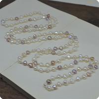 vente chaude élégant naturel 7-8mm mix couleur baroque perles d'eau douce longue chandail collier de mode bijoux de mode