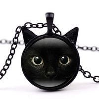 Painting Black Cat Necklace For Pet Lovers Cat Pendant With ...