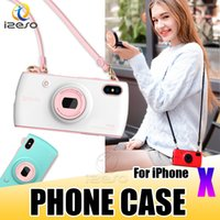 Luxus Telefon Fall für iPhone X Stilvolle Candy Farbe Kamera Design Handtasche Handy Back Cover mit Lanyard für Apple 8 7 6 Plus